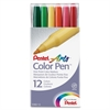 Pentel Arts Fiber Tip Color Pen - Fine, Bold Point Type - Assorted Water Based Ink - 12 / Set