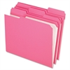 "Pendaflex Color Reinforced Top File Folders - Letter - 8 1/2"" x 11"" Sheet Size - 1/3 Tab Cut - Top Tab Location - 11 pt. Folder Thickness - Pink - 100 / Box"