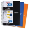 "Mead 9-12"" x 6"" 5-Subject Notebook - Wire Bound - 6"" x 9.50"" - White Paper - Plastic Cover - Pocket Divider, Perforated, Subject - 1 / Each"