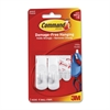 Command Small Removable Hooks - 2 Small Hook - 1 lb (453.6 g) Capacity - Plastic - White - 2 / Pack