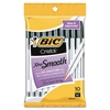 BIC Cristal Ballpoint Pen - Medium Point Type - Black - Clear Barrel - 10 / Pack
