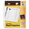 "Avery 3-Hole Top-Loading Sheet Protectors - For Letter 8.50"" x 11"" Sheet - Ring Binder - Rectangular - Clear - Polypropylene - 10 / Pack"