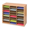 "Literature Organizer - 24 Compartment(s) - Compartment Size 2.50"" x 9"" x 11.75"" - 23.5"" Height x 29"" Width x 12"" Depth - Floor - Medium Oak - Particleboard - 1Each"