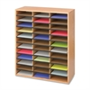 "Literature Organizer - 36 Compartment(s) - Compartment Size 2.50"" x 9"" x 11.75"" - 34.5"" Height x 29"" Width x 12"" Depth - Floor - Medium Oak - Particleboard - 1Each"