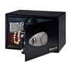 "Security Safe - 0.50 ft³ - Key Lock - 2 Live-locking Bolt(s) - Internal Size 8.50"" x 13.62"" x 8.62"" - Overall Size 8.7"" x 13.8"" x 10.6"" - Black - Steel"
