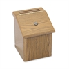 "Safco Locking Suggestion Box - External Dimensions: 7.8"" Width x 7.5"" Depth x 9.8"" Height - Wood - Medium Oak - 1 Each"
