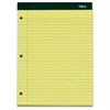 "TOPS Double Docket Ruled Writing Pads - 100 Sheets - Printed - Double Stitched - 16 lb Basis Weight - Letter 8.50"" x 11"" - Canary, Canary Paper - 3 / Pack"
