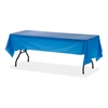 "Plastic Rectangular Table Covers - 108"" x 54"" - 6 / Pack - Plastic - Blue"