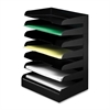 Letter Size Desktop Organizer - 7 Tier(s) - Desktop - Black - Steel - 1Each
