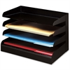 Desktop Organizer - 4 Tier(s) - Desktop - Black - Steel - 1Each