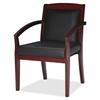 "Mercado Veneer Guest Chair - Leather Black, Wood Seat - Hardwood Cherry Frame - 22.5"" Width x 23.5"" Depth x 33.5"" Height"
