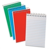 "Oxford Narrow Ruled Pocket Size Memo Book - 60 Sheets - Printed - Wire Bound - 15 lb Basis Weight 3"" x 5"" - White Paper - Blue, Green, Red Cover - Pressboard Cover - 3 / Pack"