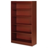 "Lorell Five Shelf Panel Bookcase - 36"" x 12"" x 60"" - 5 Shelve(s) - Material: Veneer, Wood - Finish: Cherry"