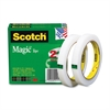 "Scotch Invisible Magic Tape - 0.50"" Width x 72 yd Length - 3"" Core - Non-yellowing, Split Resistant, Tear Resistant, Repositionable, Writable Surface, Photo-safe - 2 / Pack - Matte Clear"