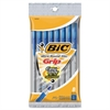 BIC Round Stic Grip Ballpoint Pen - Medium Point Type - Blue - 8 / Pack
