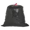 "Genuine Joe Drawstring Trash Can Liner - Medium Size - 30 gal - 30"" Width x 32"" Length x 1.05 mil (27 Micron) Thickness - Low Density - Black - Resin"