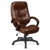 "Lorell Westlake High Back Executive Chair - Leather Brown Seat - Polyurethane Black Frame - Brown - 26.5"" Width x 28.5"" Depth x 46.5"" Height"
