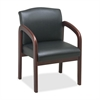 "Lorell Deluxe Faux Guest Chair - Faux Leather Black Seat - Wood Cherry Frame - Black Cherry - 23"" Width x 25.5"" Depth x 33.5"" Height"