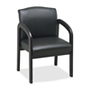 "Lorell Deluxe Faux Guest Chair - Leather Black Seat - Wood Espresso Frame - 23"" Width x 25.5"" Depth x 33.5"" Height"