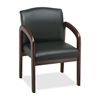 "Deluxe Guest Chair - Faux Leather Black Seat - Wood Mahogany Frame - Black Mahogany - 23"" Width x 25.5"" Depth x 33.5"" Height"