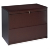 "Lorell Two Drawer Lateral File - 36"" x 24"" x 29"" - 2 - Fluted Edge - Material: Hardwood - Finish: Mahogany, Veneer"