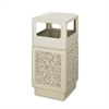"Safco Indoor/outdoor Square Receptacles - 38 gal Capacity - Square - 39.3"" Height x 18.3"" Width x 18.3"" Depth - Plastic, Stone - Tan"