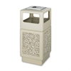 "Safco Plastic/Stone Aggregate Receptacles - 38 gal Capacity - Square - 39.3"" Height x 18.3"" Width x 18.3"" Depth - Polyethylene, Stainless Steel - Tan"