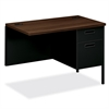 "HON Metro Classic Return - 42"" x 24"" x 29.5"" - Single Pedestal on Right Side - Material: Metal, Steel - Finish: Black, Laminate, Walnut"