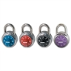 Master Lock Colored Dial Combination padlocks - 3 Digit - Stainless Steel Body, Steel Shackle - Black, Red, Purple, Blue