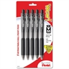 Pentel WOW! Retractable Ballpoint Pen - Medium Point Type - 1 mm Point Size - Black - Black Barrel - 5 / Pack