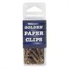 """Golden Paper Clip - Standard - 1.4"""" Width - 100 Pack - Gold - Brass"""
