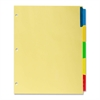 "Kleer-Fax Commercial Series Insertable Ring Book Index Divider - 5 - 8.50"" Divider Width x 11"" Divider Length - Letter - 3 Hole Punched - Canary - Assorted Plastic Tab - 5 / Set"