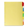 "Kleer-Fax Commercial Insertable Index Divider - 8 - 8.50"" Divider Width x 11"" Divider Length - Letter - 3 Hole Punched - Canary - Assorted Plastic Tab - 8 / Set"