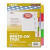 "Kleer-Fax Mak-Ur-Own Index Divider - 5 Write-on Tab(s) - 8.50"" Divider Width x 11"" Divider Length - Letter - 3 Hole Punched - White Divider - Multicolor Plastic Tab(s) - 5 / Set"