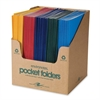 "Roaring Spring Embossed 2-pocket Folders - 9 1/2"" x 11 3/4"" Sheet Size - 2 Pocket(s) - Paper - Assorted - 100 / Carton"
