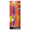 Ball Erasable Gel Pen - Fine Point Type - 0.7 mm Point Size - Refillable - Assorted Gel-based Ink - 3 / Pack