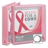 "Breast Cancer Awareness View Binder - 1"" Binder Capacity - Round Ring Fastener - 2 Internal Pocket(s) - Pink - Recycled - 1 / Each"