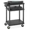 "Safco A/V Equipment Stand - Up to 20"" Screen Support - 50 lb Load Capacity - 3 x Shelf(ves) - 42"" Height x 27.8"" Width x 18.5"" Depth - Plastic - Black"