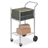 "Economy Office Cart - 125 lb Capacity - 4 Casters - Steel - 19.5"" Width x 26"" Depth x 40.3"" Height - Silver"