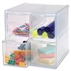 "Sparco 4-Drawer Storage Organizer - 4 Drawer(s) - 6"" Height x 6"" Width x 7.3"" Depth - Clear - 1Each"