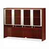 "Mayline Glass Door Hutch - 63"" Width x 15"" Depth x 50.5"" Height - Veneer, Wood - Sierra Cherry"