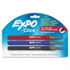 Click Starter Set Dry Erase Marker - Fine Point Type - Chisel Point Style - Assorted - 3 / Set
