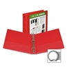 "Economy View Binder - 1 1/2"" Binder Capacity - Letter - 8 1/2"" x 11"" Sheet Size - 375 Sheet Capacity - 3 x Round Ring Fastener(s) - 2 Internal Pocket(s) - Polypropylene, Chipboard - Red - Recy"