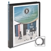 "Round Ring View Binder - 1/2"" Binder Capacity - Letter - 8 1/2"" x 11"" Sheet Size - 125 Sheet Capacity - Round Ring Fastener - 2 Internal Pocket(s) - Polypropylene - Black - 1 Each"