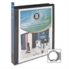 "Business Source Round-ring View Binder - 1"" Binder Capacity - Letter - 8 1/2"" x 11"" Sheet Size - 225 Sheet Capacity - Round Ring Fastener - 2 Internal Pocket(s) - Polypropylene - Black - 1 Each"