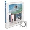 "Business Source Round Ring View Binder - 1"" Binder Capacity - Letter - 8 1/2"" x 11"" Sheet Size - 225 Sheet Capacity - Round Ring Fastener - 2 Internal Pocket(s) - Polypropylene - White - 1 Each"