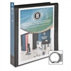 "Business Source Round Ring View Binder - 1 1/2"" Binder Capacity - Letter - 8 1/2"" x 11"" Sheet Size - 350 Sheet Capacity - Round Ring Fastener - 2 Internal Pocket(s) - Polypropylene - Black - 1 Each"