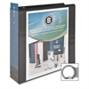 "Business Source Round Ring View Binder - 3"" Binder Capacity - Letter - 8 1/2"" x 11"" Sheet Size - 625 Sheet Capacity - Round Ring Fastener - 2 Internal Pocket(s) - Polypropylene - Black - 1 Each"