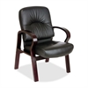 "Lorell Woodbridge Guest Chair - Leather Black Seat - Mahogany Frame - Leather - 26"" Width x 29"" Depth x 37.5"" Height"