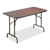 "Lorell Economy Folding Table - Rectangle Top - 48"" Table Top Length x 24"" Table Top Width x 0.63"" Table Top Thickness - 29"" Height - Mahogany"